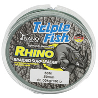 TripleFish rhino braid leader 50m .50mm 130lb green