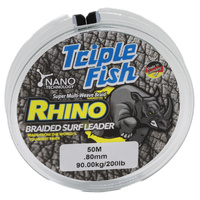 TripleFish rhino braid leader 50m .80mm 200lb green